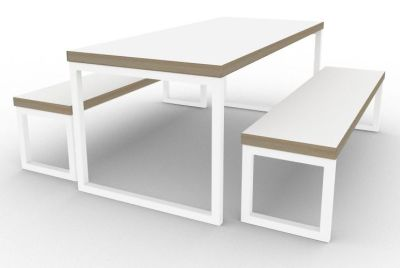 Toby Bench Dining Set White