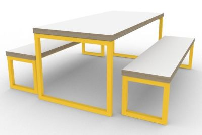Toby Bench Dining Set Yellow
