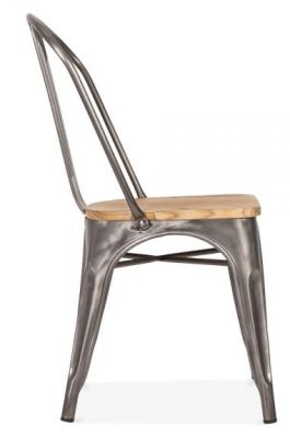 Hover To Zoom; Xavier Pauchard Gun Metal Side Chair Width A Wooden Seat Side  View