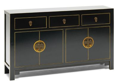 The Nine Schools Oriental Black and Gilt Large Sideboard