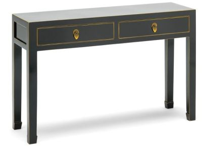 The Nine Schools Oriental Black and Gilt Console Table