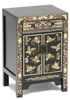 The Nine Schools Oriental Decorated Small Black Cabinet