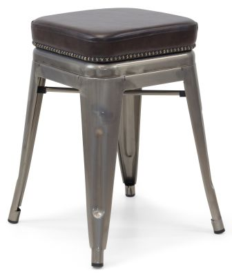 Xavier Pauchard Gun Metal Low Stool - Studded Leather Seat 2