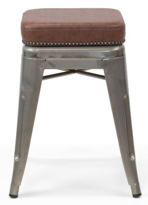 Xavier Pauchard Gun Metal Low Stool - Studded Leather Seat 3