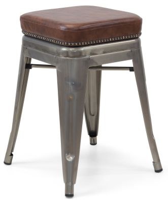 Xavier Pauchard Gun Metal Low Stool - Studded Leather Seat 4