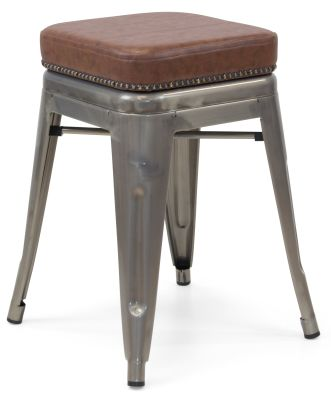 Xavier Pauchard Gun Metal Low Stool - Studded Leather Seat 5