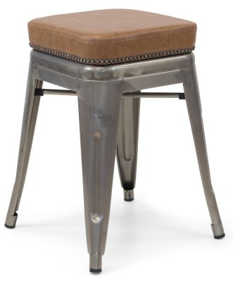 Xavier Pauchard Gun Metal Low Stool - Studded Leather Seat