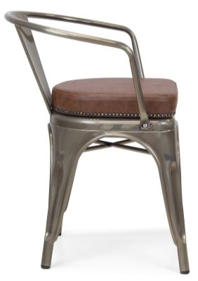 Xavier Pauchard Gun Metal Arm Chair 1 - Studded Leather Seat