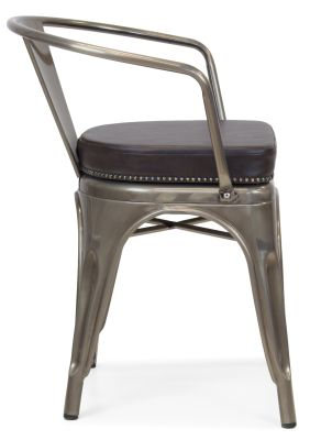 Xavier Pauchard Gun Metal Arm Chair 1 - Studded Leather Seat 3