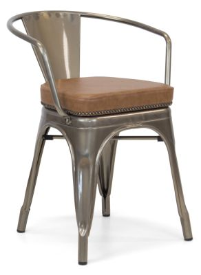 Xavier Pauchard Gun Metal Arm Chair 1 - Studded Leather Seat 7