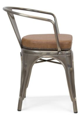 Xavier Pauchard Gun Metal Arm Chair 1 - Studded Leather Seat 9