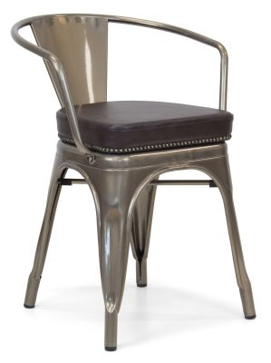 Xavier Pauchard Gun Metal Arm Chair 1 - Studded Leather Seat 10