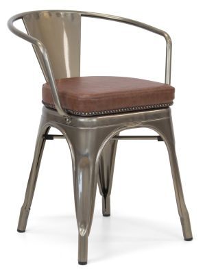 Xavier Pauchard Gun Metal Arm Chair 1 - Studded Leather Seat 13