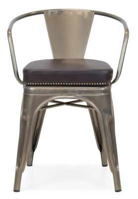 Xavier Pauchard Gun Metal Arm Chair 1 - Studded Leather Seat 14