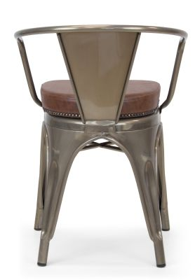 Xavier Pauchard Gun Metal Arm Chair 1 - Studded Leather Seat 15