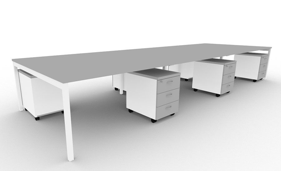 Adante 6 Person Bench Desk With Pedestals Grey