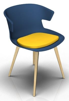 Theo Bean Blue Beech Seat Pad Yellow