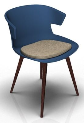 Theo Bean Blue Wenge Seat Pad Dove Grey