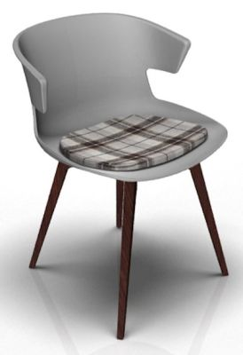Theo Bean Grey Wenge Seat Pad Tartan Brown