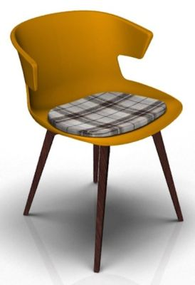Theo Bean Orange Wenge Seat Pad Tartan Brown