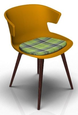 Theo Bean Orange Wenge Seat Pad Tartan Green