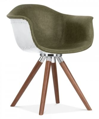 Juno Aviator Designer Chair B - Green Leather/Walnut
