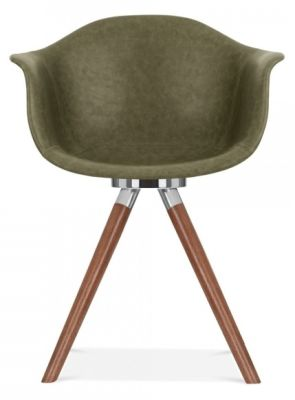 Juno B Avaiator Chair Win Green Leather And Walnut Legs Front View