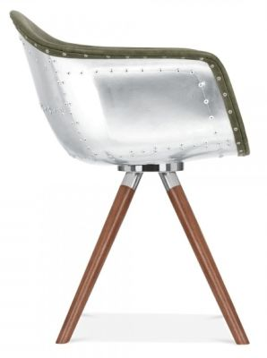 Juno B Aviatior Designer Chair Green Leather And Walnuyt Legs