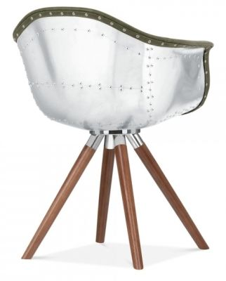 Juno B Aviator Chair Green Leather And Walnut Rear Angle