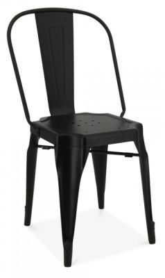 Auxerre Black Metal Dining Chair Front Angle