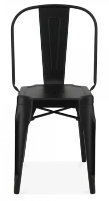 Auxerre Black Metal Dining Chair Front View