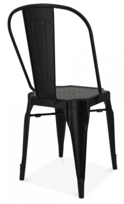 Auxerre Black Metal Dining Chair Rear Angle