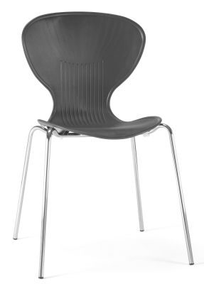 Pizza Poly Chair In Black Shown From Teh Front