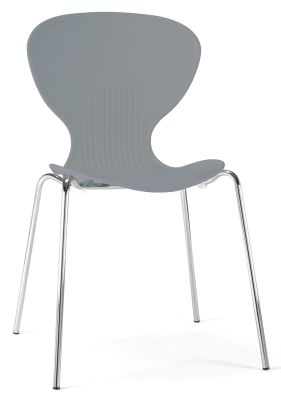 Piazza Poly Chair In Grey Shown From Teh Front