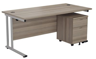 Flite Desk And Pedestal In Grfey Oak Angle View