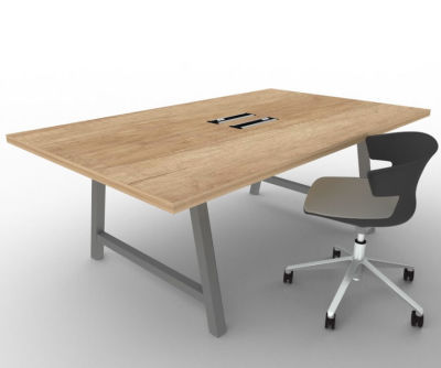 Integral Two Person Rectangular Office Table Prev With Nebraska Oak Top And Raw Finish Leg Frame