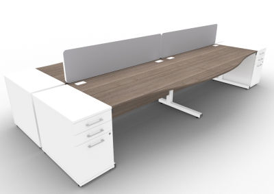 Avalon 4 Way Wave Desk High Peds And Screen Anthracite
