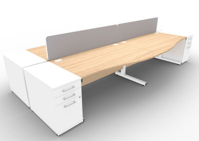 Avalon 4 Way Wave Desk High Peds And Screen Verade Oak