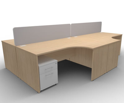 Avalon AVB32 4 Way Office Corner Panel Desk With Mobile Pedestals In Verade Oak, 15 Finishes, Free Delivery
