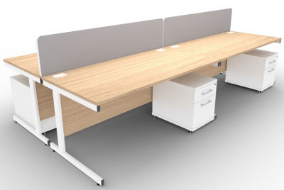 Avalon 4 Way Rectangular Desks Screens And 2 Drawer Peds Verade Oak
