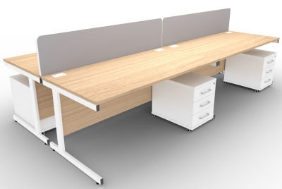 Avalon 4 Way Rectangular Desks Screens And 3 Drawer Peds Verade Oak
