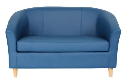 Tritium Leather Sofa Royal Blue With Wooden Feet Front View