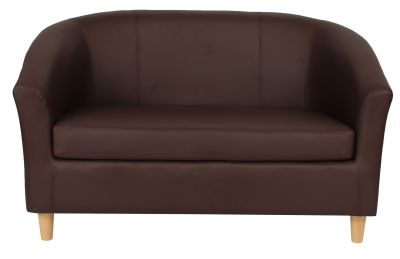 Tritium Brown Leather Sofa With Wooden Feet Front View