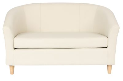 Tritium Two Saeater Sofa In Cream With Wooden Feet Front View