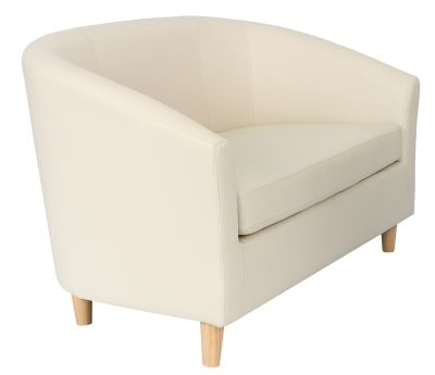Tritium Two Seater Tub Chair In Cream Faux Leather With Wooden Feet Angle View