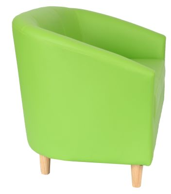 Tritium Sofa In Lime Green With Wooden Feet Side View