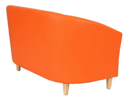 Trtitium Sofa With Wooden Feet In Orange Leather Rear Angle View