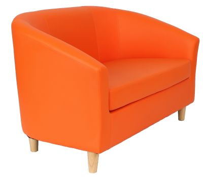 'Tritium Two Seater Sofa With Wooden Feet In Orange Angle View