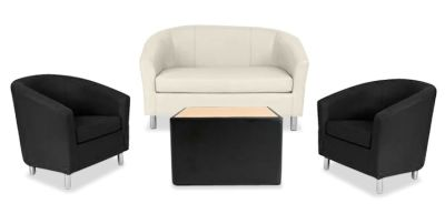 Tritium NEXT DAY Coloured Leather Sofas Bundle Black Black Cream