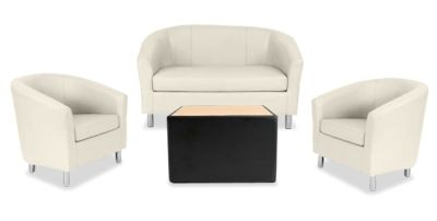 Tritium NEXT DAY Coloured Leather Sofas Bundle Black Cream